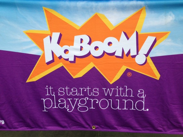 On Thursday, we joined forces with KaBOOM! for our first playground build.